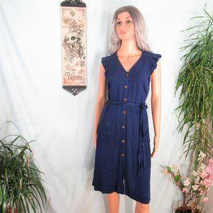 Monteau Blue Button Up Ruffle Cap Sleeve Dress